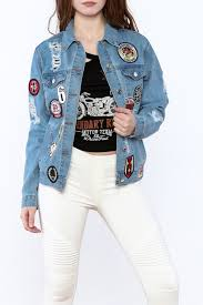 rd style denim patch jacket from texas by v u0026x boutique u2014 shoptiques