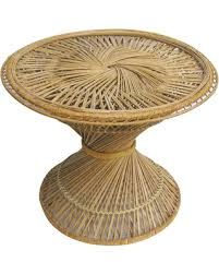 Vintage Bohemian Boho Round Bamboo Wicker Rattan Woven Hourglass Table Coffee Side