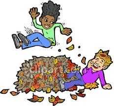 0060 0909 1511 1828 Children Playing In A Pile Leaves clipart image