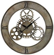 Reminiscent Of A Mechanical Age This Industrial Cog Wall Clock By Sterling Is Stunning The Style With Exposed Non Moving Gears Add