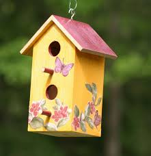 Tuscan Rustic Birdhouse Hand Painted With Butterfly And Flower Blossom Decoupage