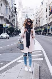 Wearing Your White Converse With A Pastel Coloured Coat Will Create Wonderful Autumn Look