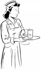 Black and White Nurse with a Glass of Water on a Tray Clipart Picture
