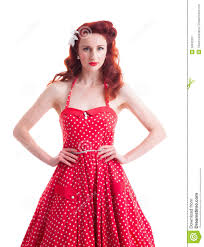 beautiful retro pin up with red polka dot dress stock image