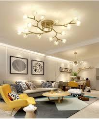 modern led deckenleuchte mattes gold metall und glas blume