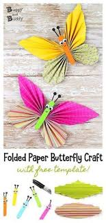 Adorable Folded Butterfly Craft With Printable Templates