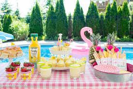 Summer Backyard Flamingo Pool Party Ideas The Polka Dot Chair Elegant Sweet Sixteen