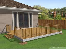 Free Standing Deck Bracing by 3 Ways To Build A Deck Wikihow