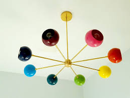 Rainbow Chandelier Modern Lighting Colorful Light Fixture Mid Century