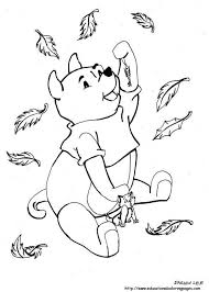 Fall Coloring Pages At Educational Winnie The Pooh Catching Leaves