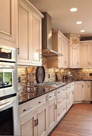 Lightnot White Cabinets Dark Counter Oak Floors Neutral Tile Black Splash