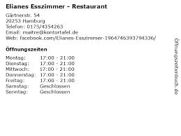 ᐅ öffnungszeiten elianes esszimmer restaurant