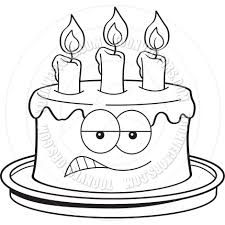 Cartoon Angry Birthday Cake Black And White Line Art By Kenbenner Croissant Clip Art