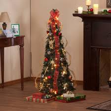 Pop Up Christmas Tree With Lights And Decorations New 6 Foot Fully Decorated Red Amp