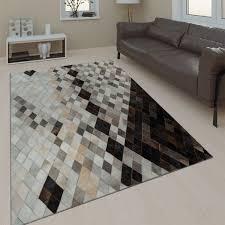 teppich wohnzimmer leder wolle grau schwarz
