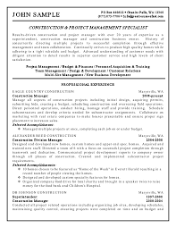 Resume Sample Construction Project Manager Samples Free Pdf