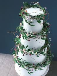 Wildflower Cakes London Wedding Cake With Sugar And Foliage Wreaths In Green