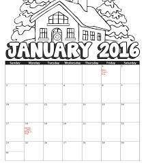 2016 January Coloring Calendar
