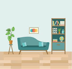 living room with sofa and book shelves flat vector