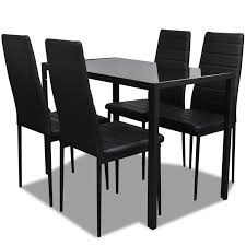 Modern Dining Room Sets Uk by Vidaxl Co Uk Contemporary Dining Set With Table And 4 Chairs Black