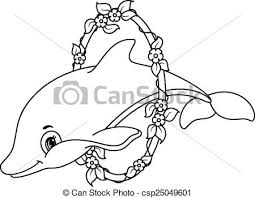 Vector Clipart Of Dolphins Coloring Page
