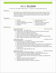 Construction Laborer Resume Beautiful General Worker Samples