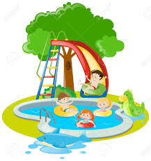 Children Swimming And Playing Slide In Pool Illustration Stock Vector
