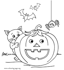 Cat Bats And Spider With A Halloween Pumpkin Coloring Page