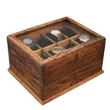 Dresser Valet Watch Box by Personalized Rustic Men U0027s Watch Box For 16 Watches With Drawer And