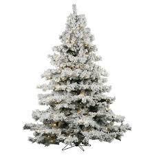 65ft Pre Lit Artificial Christmas Tree Full Flocked Alaskan