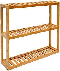 dunedesign wandregal 54x60x15cm bambus bad regal 3 fächer holz ablage badezimmer hängeregal aufbewahrung küche