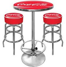 3PC Retro Kitchen Metal Round Edge 50s Coca Cola Dinner Table Stool Chair Set