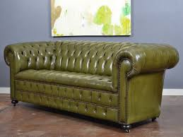Green Leather Sofa Inspirational Vintage English Olive Chesterfield At