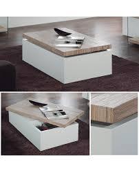 table basse rangement gain de place laque blanc plateau bois