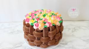 Cakes Decorated With Russian Tips by How To Make A Floral Basket Cake With Russian Piping Tips Youtube