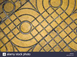 Yellow Patterned Paving Tiles On The Street Top View Cement Bricks Squared Stone Ground Floor Background Texture Concrete Slab Flagstone