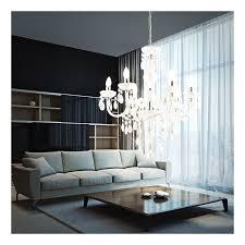 kronleuchter acryldekor weiß luster esszimmer beleuchtung chrom globo 63113 6 cuimbra i