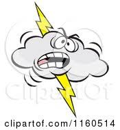 Cartoon Of An Angry Lightning Storm Cloud Mascot Royalty Free Vector Clipart By Johnny Sajem