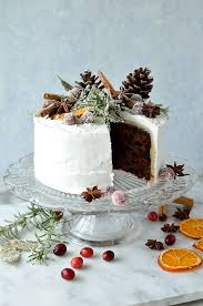 Moist Gingery Fruitcake Topped With Marzipan Royal Icing Sugared Cranberries Rosemary And