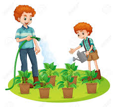 Father And Son Watering The Plants Illustration Royalty Free