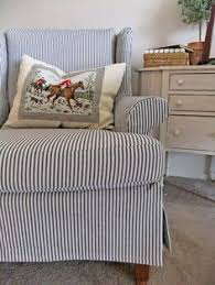 Used Ethan Allen Wingback Chairs by Slipcovers Navy Blue Ticking Stripe Fabric Was Used For These