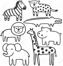 zoo animals clipart black and white 1