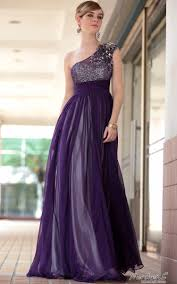 purple one shoulder transparent bridesmaid ball gown evening dress