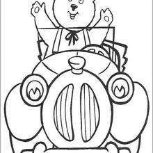 Noddy And Bunkey Washing The Car Coloring Pages