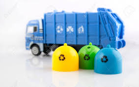 100 Toy Trash Truck Colored Bins And Garbage S On White Background Stock