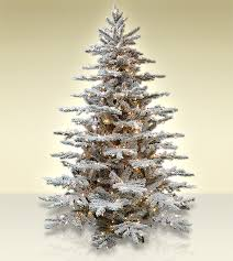 Layered Lucerne Flocked Artificial Christmas Trees