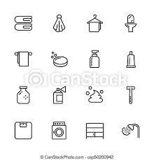 badezimmer grobdarstellung linien icons vektor icon