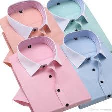 summer short sleeve formal shirts for men button down dress shirt