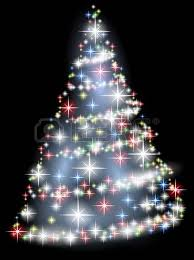 Bright Christmas Tree With Stars Over Black Stock Vector