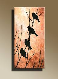 Faire Au Pochoir Canvas Print Of Original Acrylic Painting Night Bird Serenade Wall Hanging Decorative Art